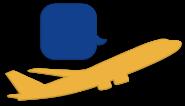 Icon Flugzeug mit Sprechblase